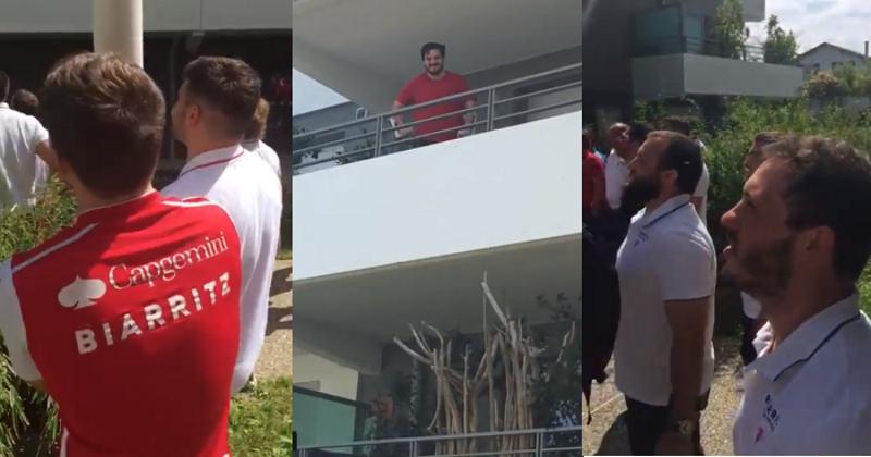 VIDÉO. La belle surprise des joueurs du Biarritz Olympique pour le pilier Mathieu Giudicelli