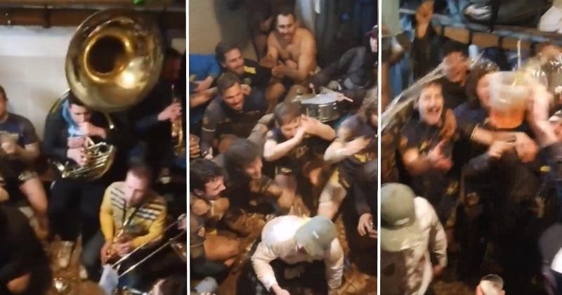 VIDÉO. Rugby Amateur : Brassac fête sa qualification en 1/4 avec la banda locale dans les vestiaires