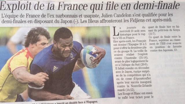 PHOTO. INSOLITE. Un journal anticipe un peu trop la victoire de France 7 face au Japon à Rio