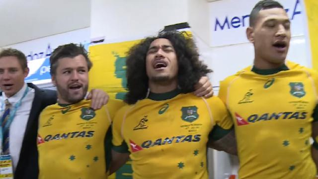 VIDÉO. Les Wallabies fêtent leur victoire dans le Rugby Championship en chantant dans les vestiaires