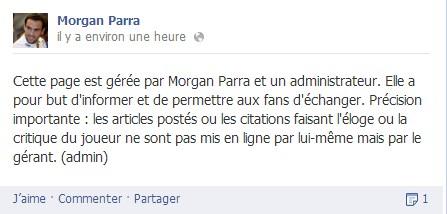Morgan Parra maîtrise mal sa communication facebook et crée le buzz