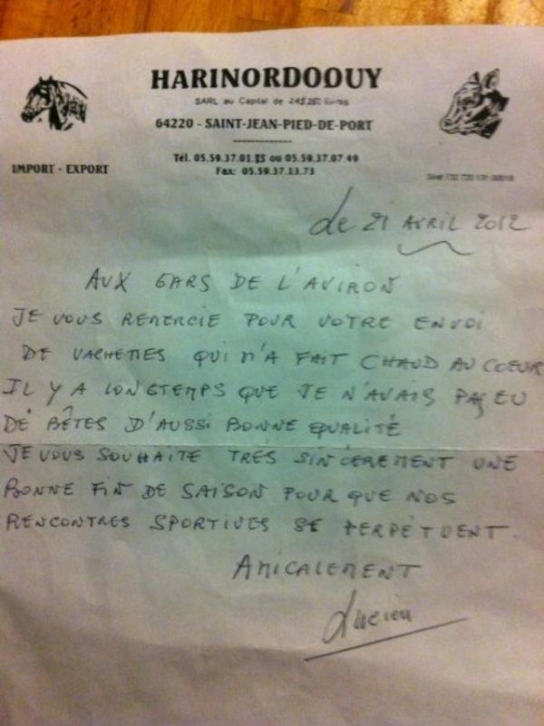 Lucien Harinordoquy remercie les Gars de l'Aviron