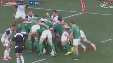 VIDEO. La mêlée de l'Irlande fait exploser celle des Etats-Unis comme du popcorn jusqu'à l'en-but