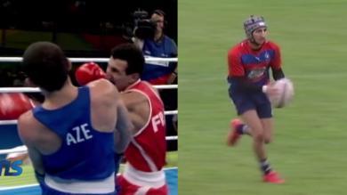 VIDEO. Médaillé d'argent à Rio, le boxeur Sofiane Oumiha s'éclate au rugby avec le TUC