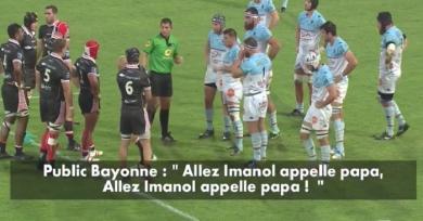 VIDÉO. Insolite : en plein derby basque, les Bayonnais chambrent Imanol Harinordoquy et son père en chanson