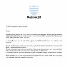 Champions Cup - Le Racing 92 dénonce la décision risible en faveur des Saracens