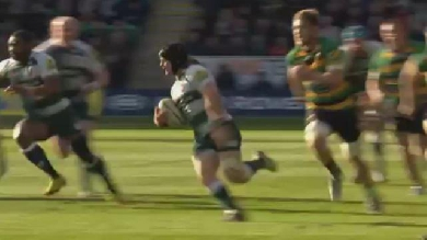 VIDEO. Premiership - Leicester : l'essai de folie du talonneur Harry Thacker face à Northampton