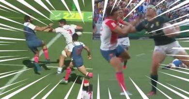 VIDEO. Cape Town 7s - Les énormes raffuts de Ruhan Nel et Danny Barrett face à France 7