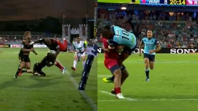 VIDEO. Super Rugby - Les sauvetages spectaculaires de Damian McKenzie et Kurtley Beale