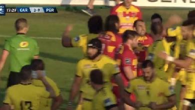 VIDÉO. PRO D2. Bagarre générale entre Carcassonne et l'USAP, David Marty et Bastien Dupuy voient rouge