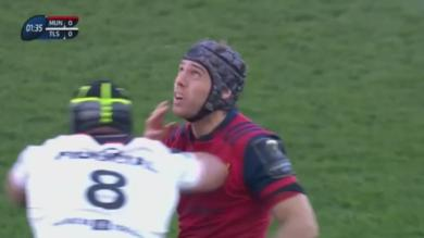VIDEO. Stade Toulousain : coude en-avant, François Cros laisse le cerveau au vestiaire et dézingue Duncan Williams