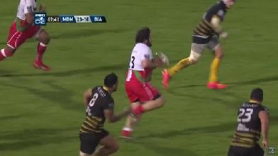 VIDEO. Pro D2. Le pilier du BO Stéphane Clément enchaîne jeu au pied et offload face au Stade Montois