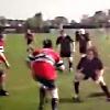 VIDEO. Rugby amateur #32 : Lanc� � pleine vitesse, un 2e-ligne se fait enfoncer dans le sol apr�s un plaquage � l'�paule