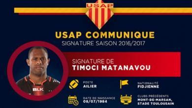 Pro D2 - USAP : procédure administrative en cours pour Timoci Matanavou