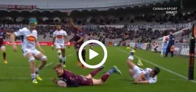 Cameron Woki pousse au pied pour le premier essai de Bordeaux-Bègles contre Agen [VIDÉO]